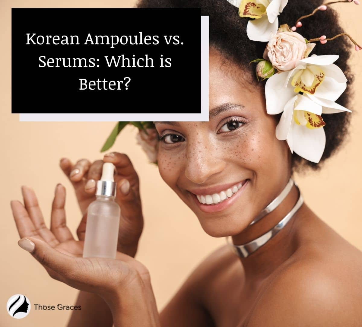 a beautiful lady holding a Korean serum in a bottle