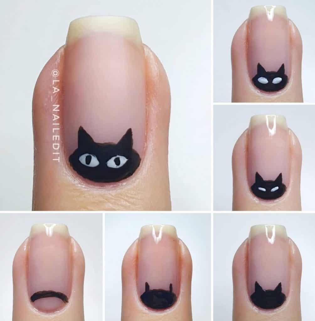 black kitty nail design