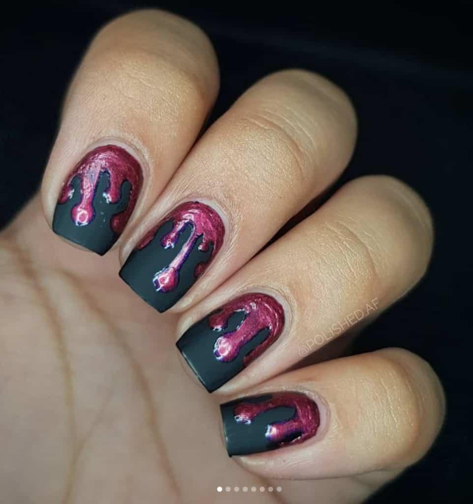 blood drip halloween nail design