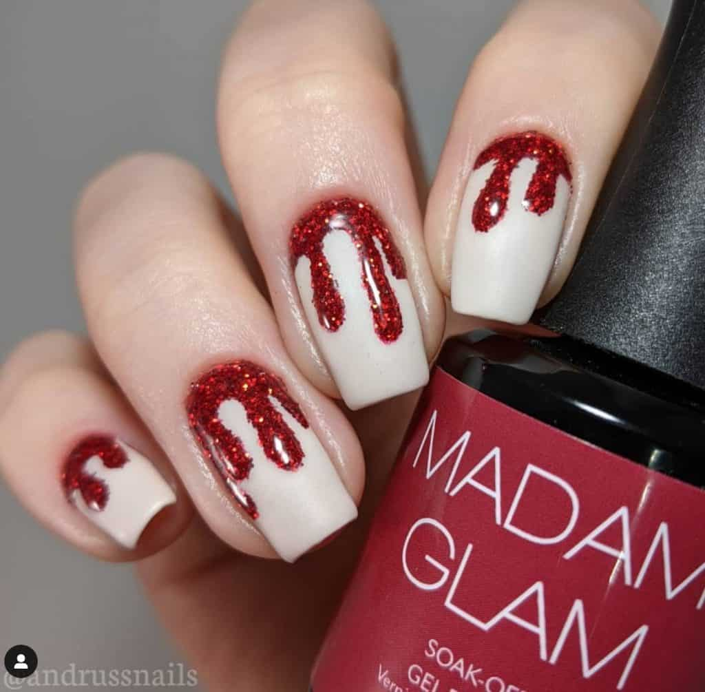 bloody red nails