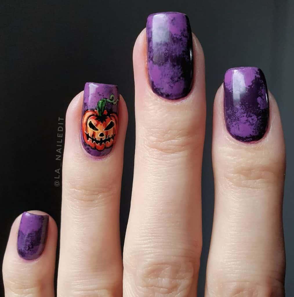 chester the pumpkin halloween nail designs