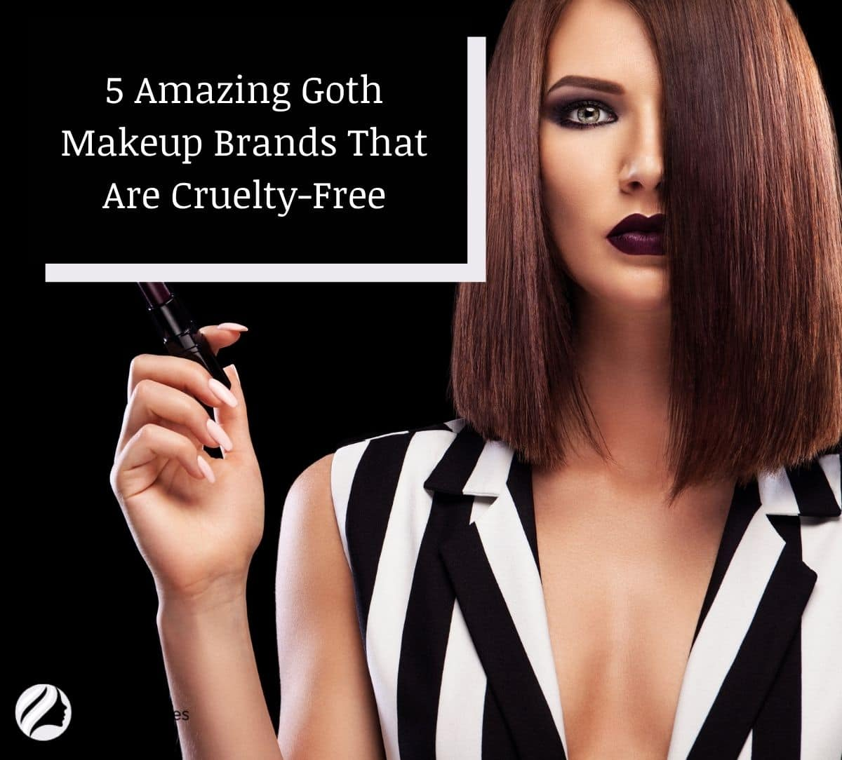 a goth lady holding a black lipstick which is one of the goth makeup brands that are cruelty-free