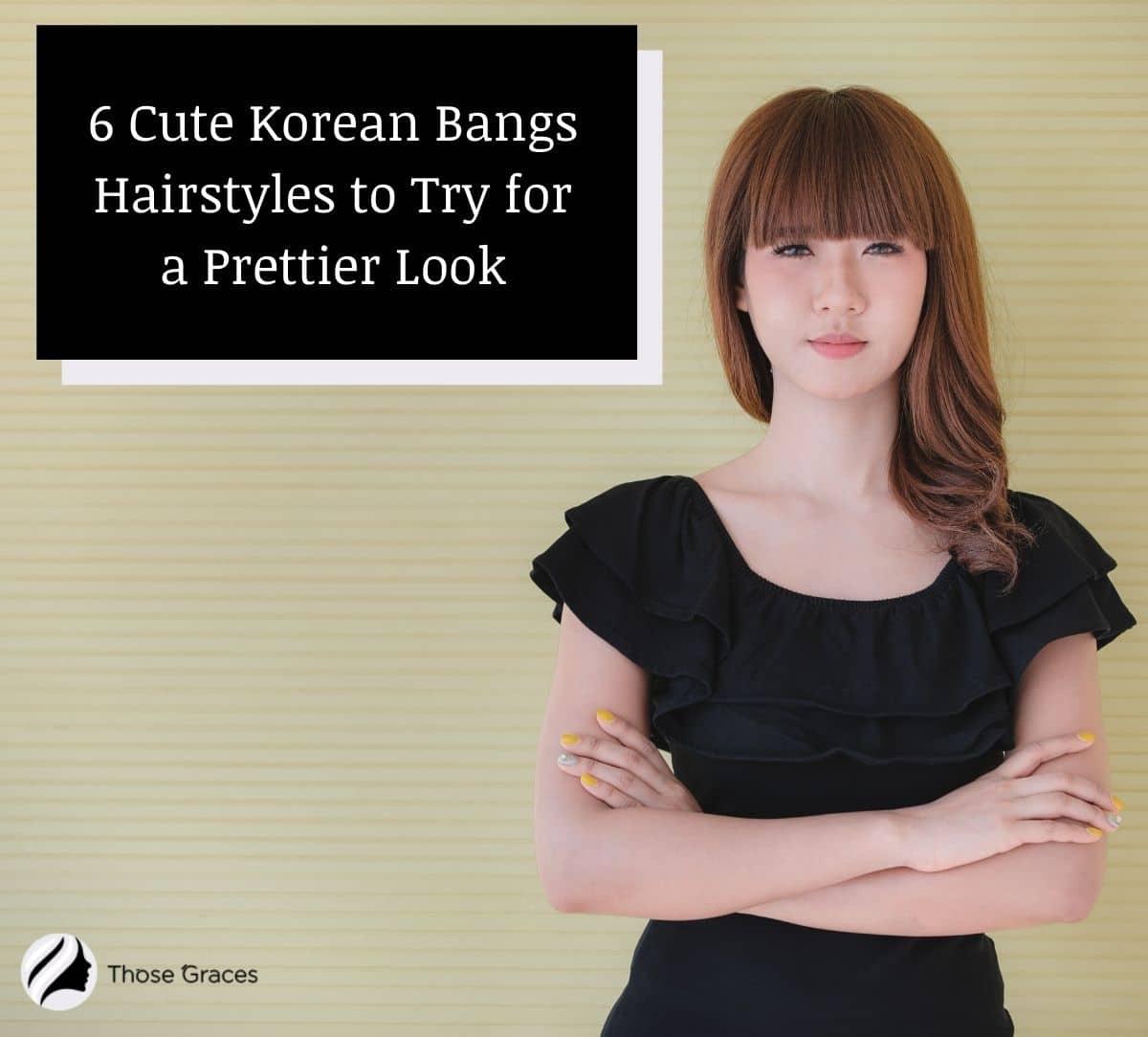 a Korean lady with a blunt Korean bangs wearing a black dress