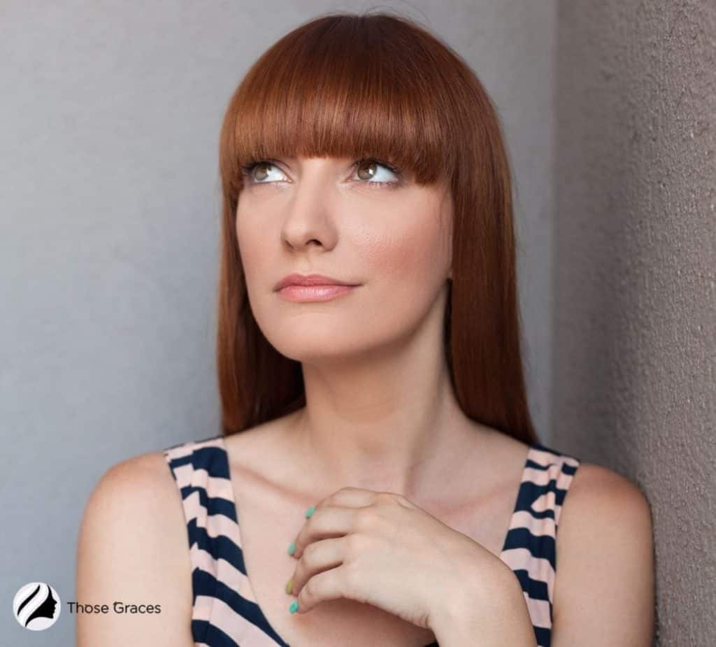 lady with a full straight bangs