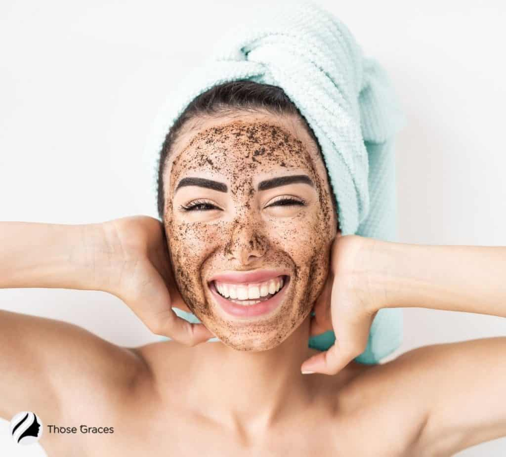 woman with DIY Korean scrub on her face