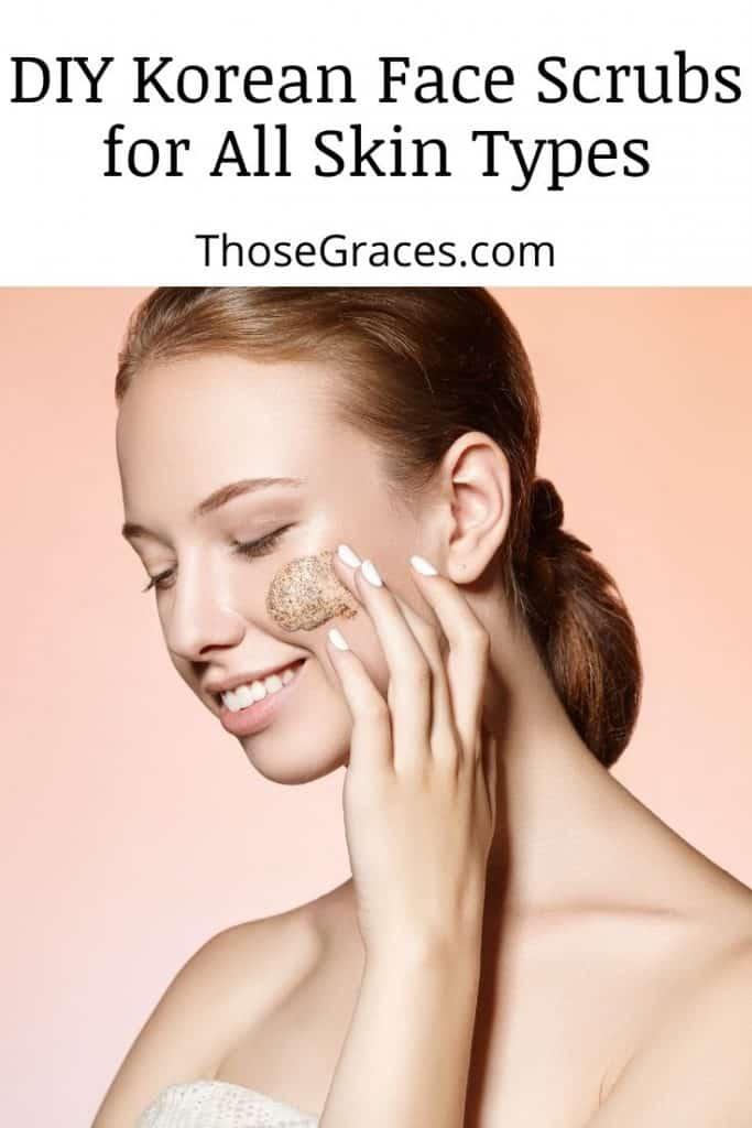 a beautiful lady putting a Korean face scrub