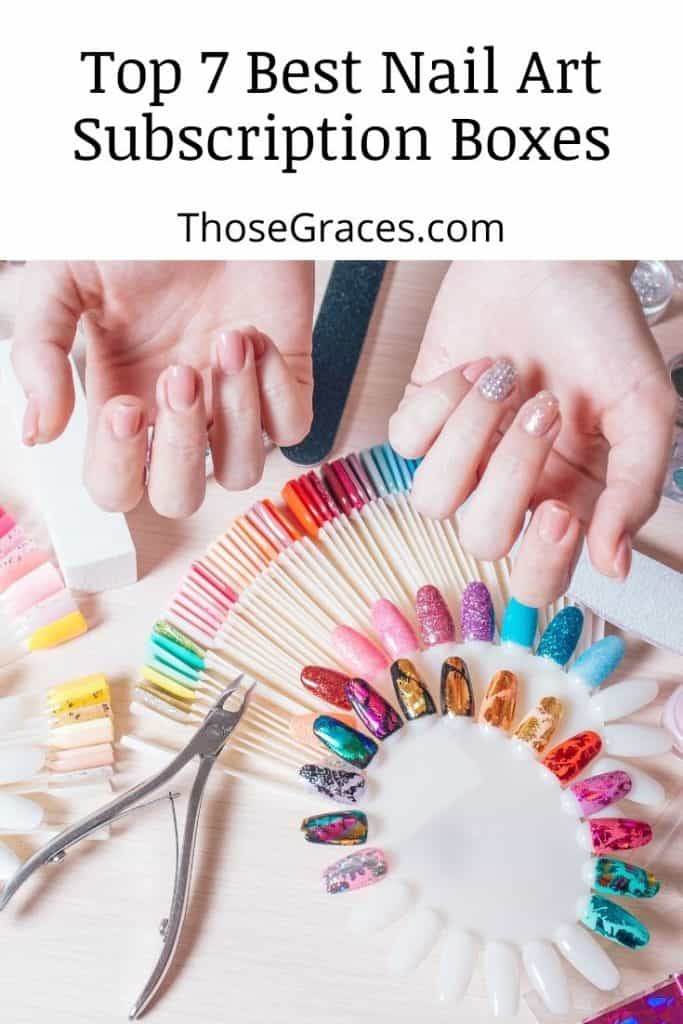 two hands on top of different pretty nail art materials