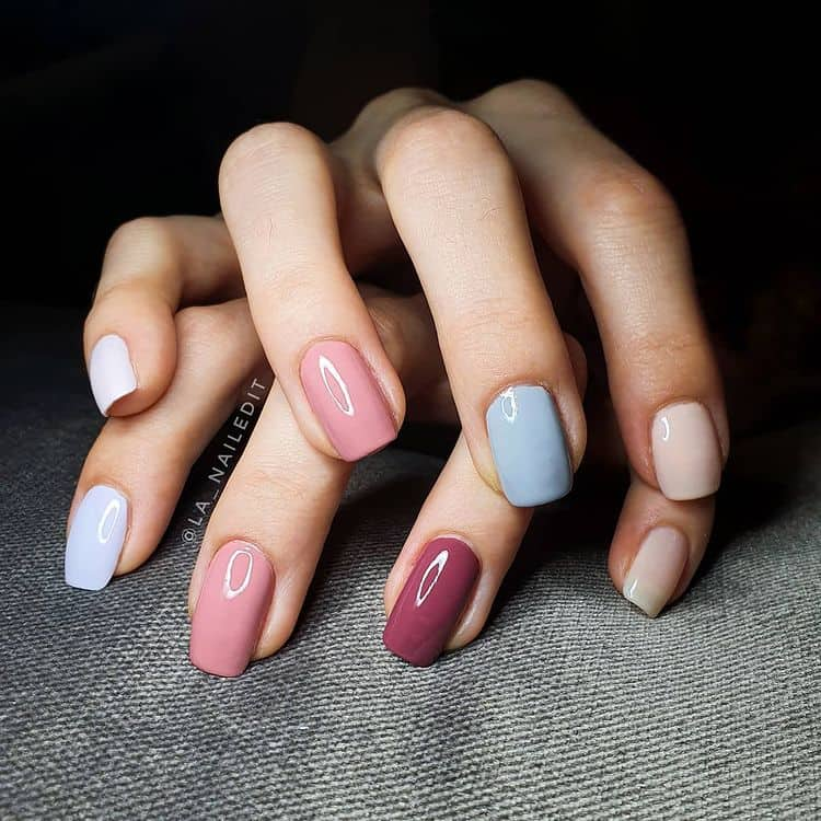 pastel-colored nails