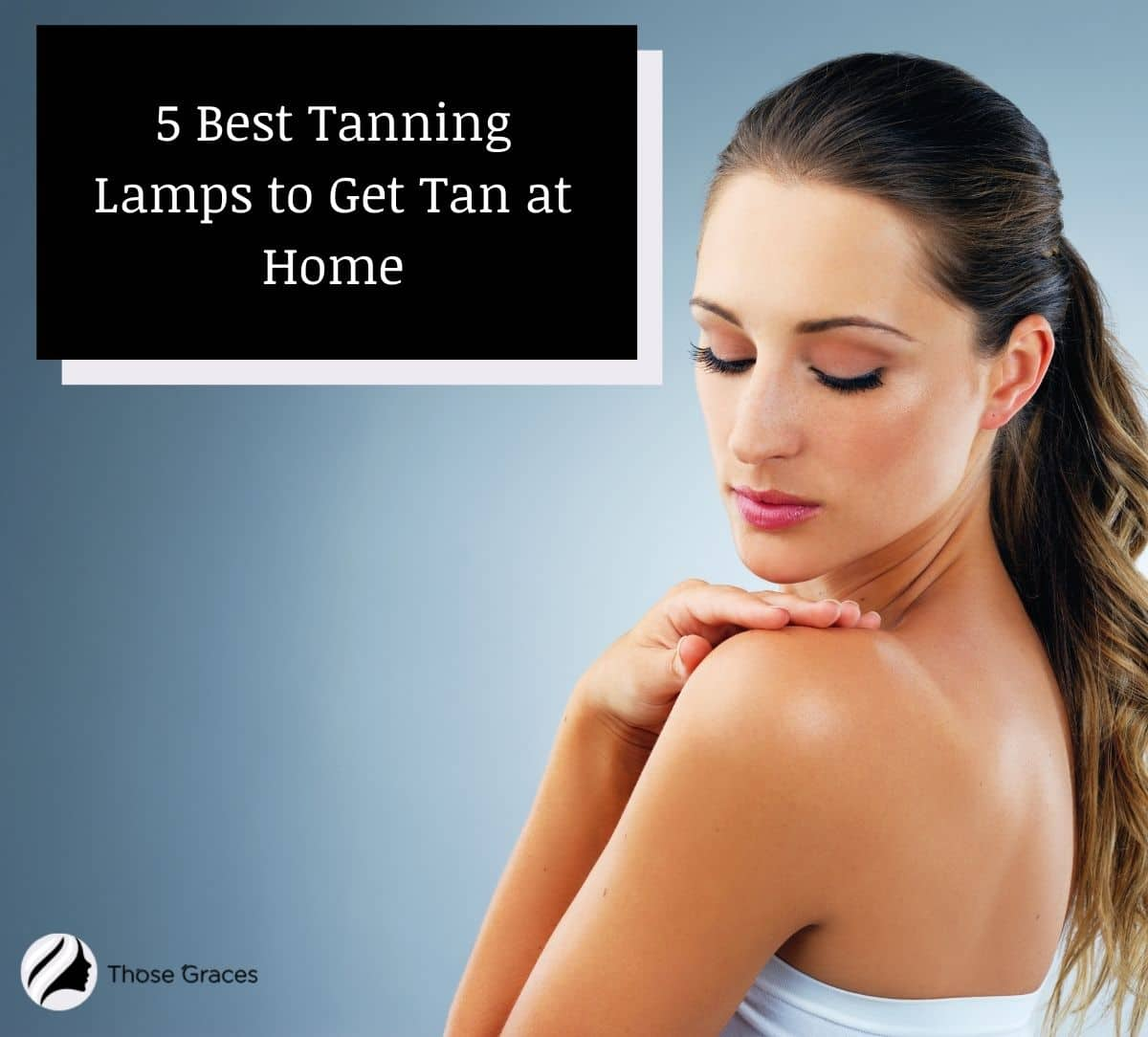 a lady who achieved a golden tan after using tanning lamps