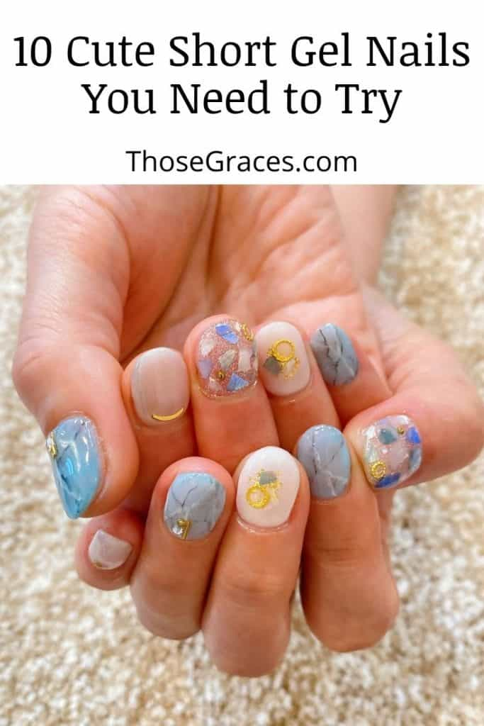 cute short gel nails with pastel white and blue designs