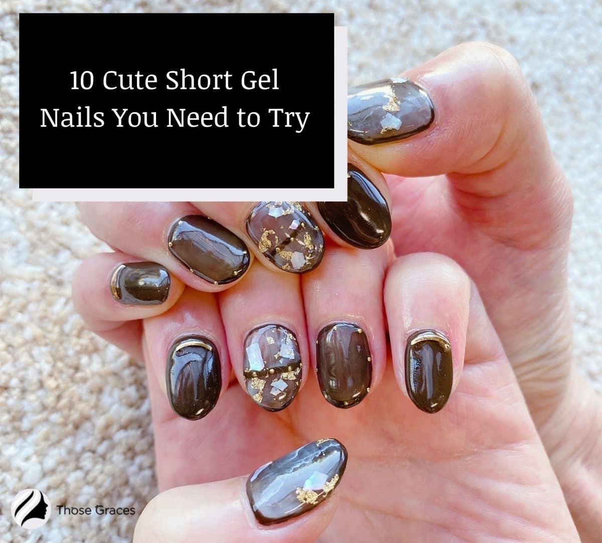 cute short gel nails that look like marble stones
