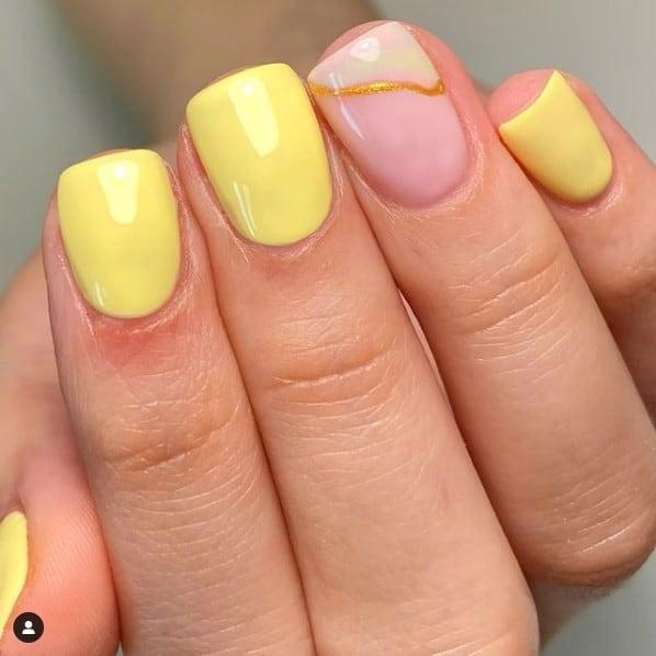 lemon gel nails