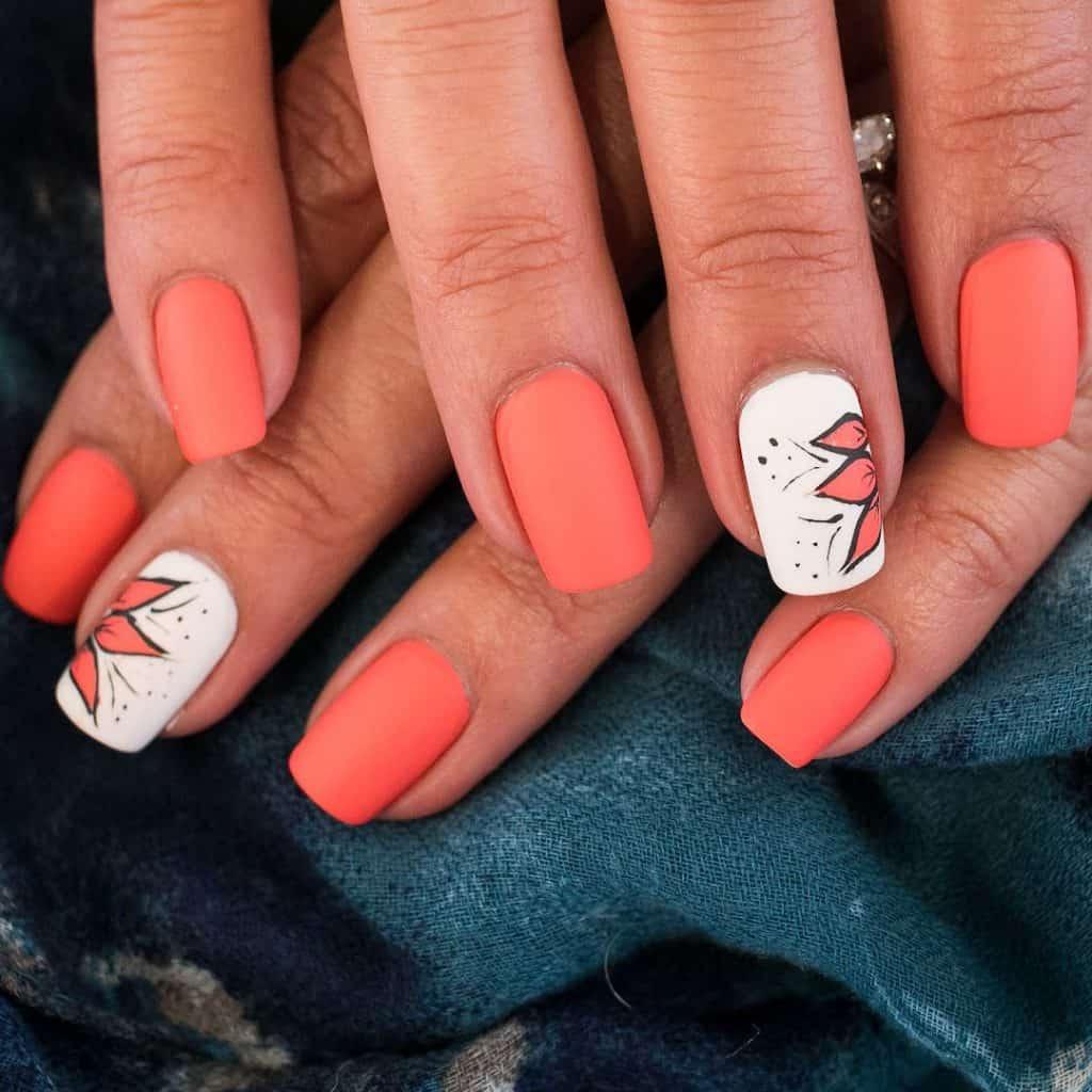 orange gel nails