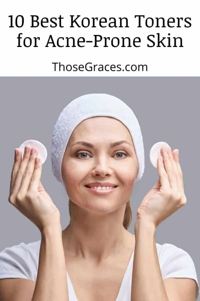 woman holding two cotton pads with the best Korean toner