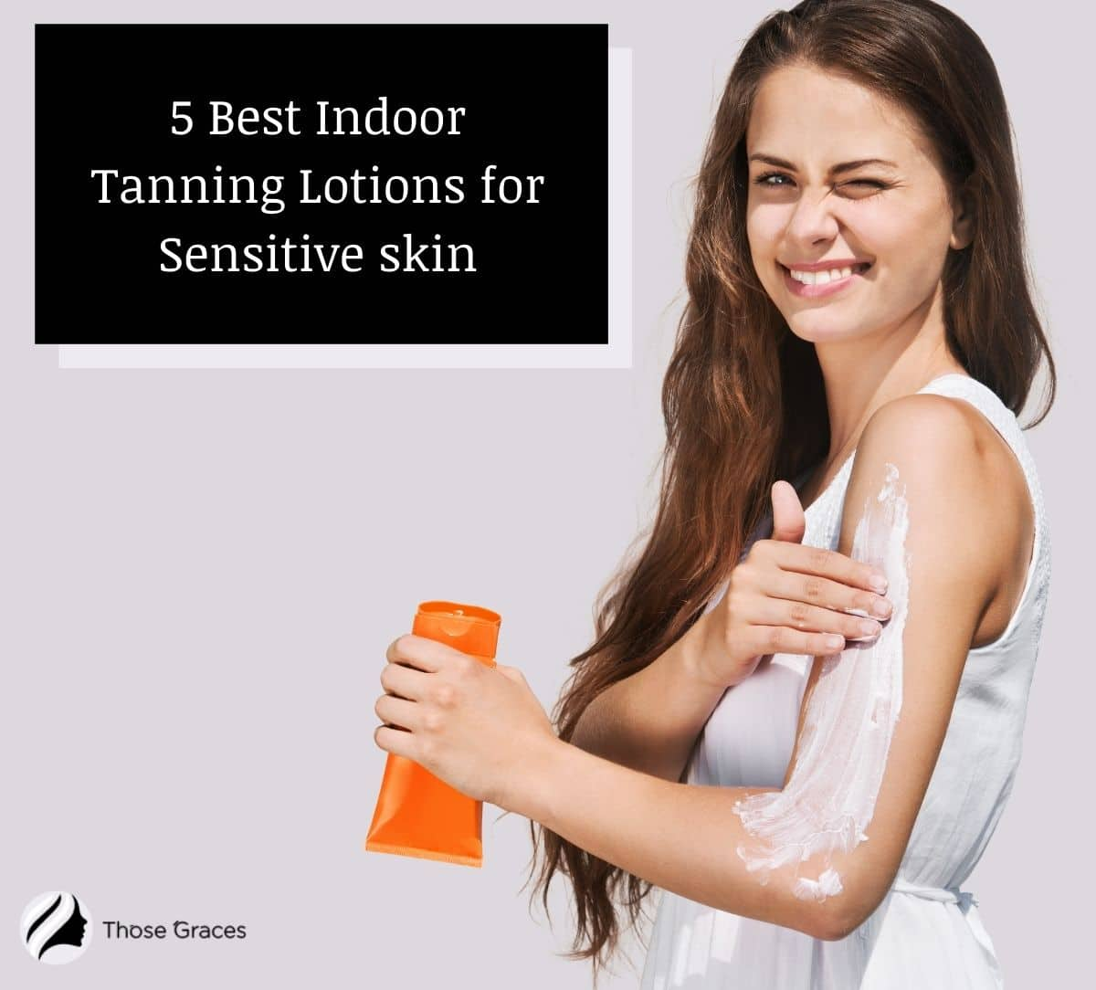 a happy lady putting the best indoor tanning lotion for sensitive skin to her left arm