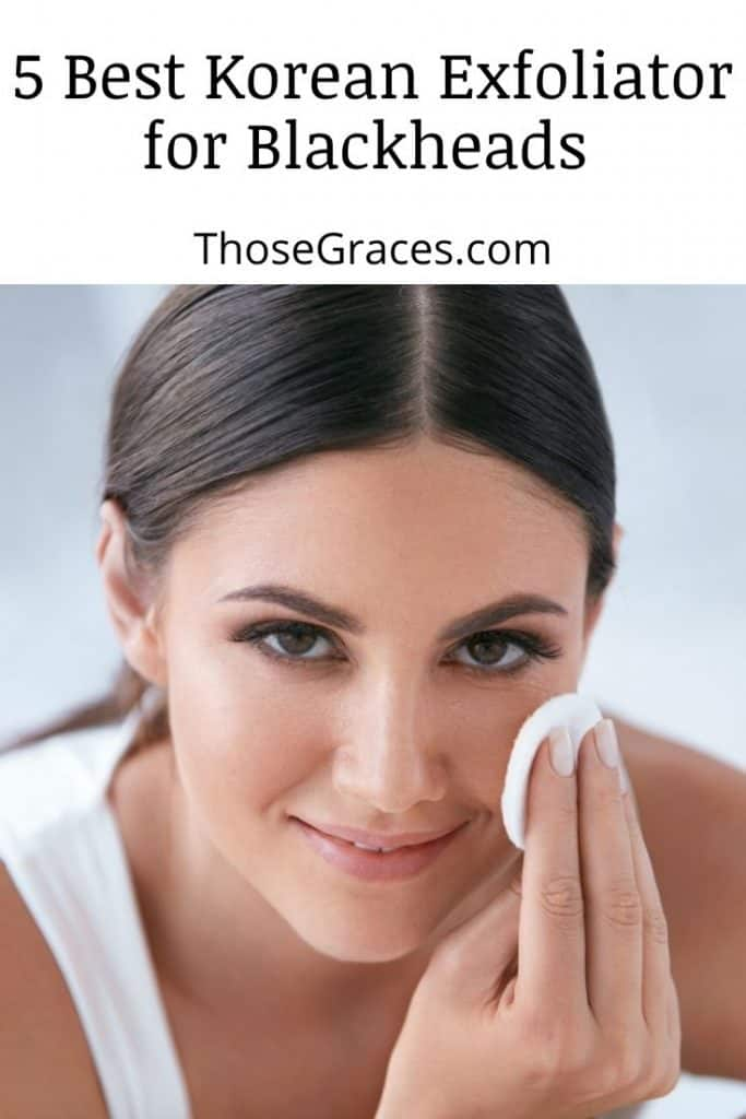 lady using a cotton pad applied with the best korean exfoliator for blackheads