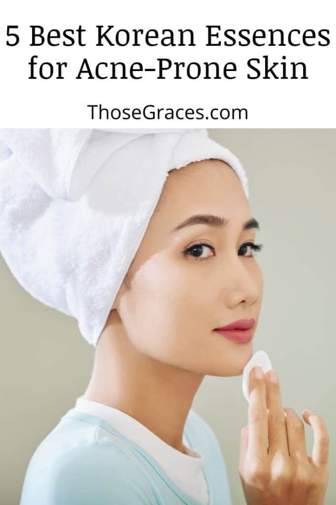an Asian lady using cotton pad with korean essences for acne-prone skin