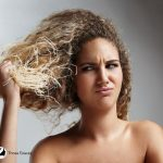 lady with curly damaged hair