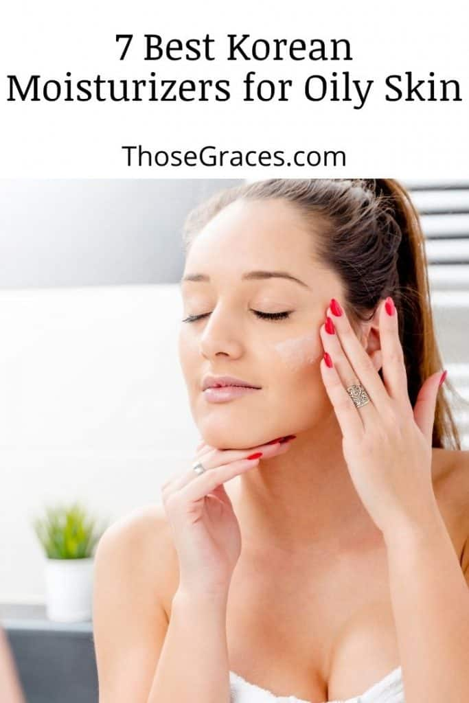 lady holding her face with Korean moisturizer