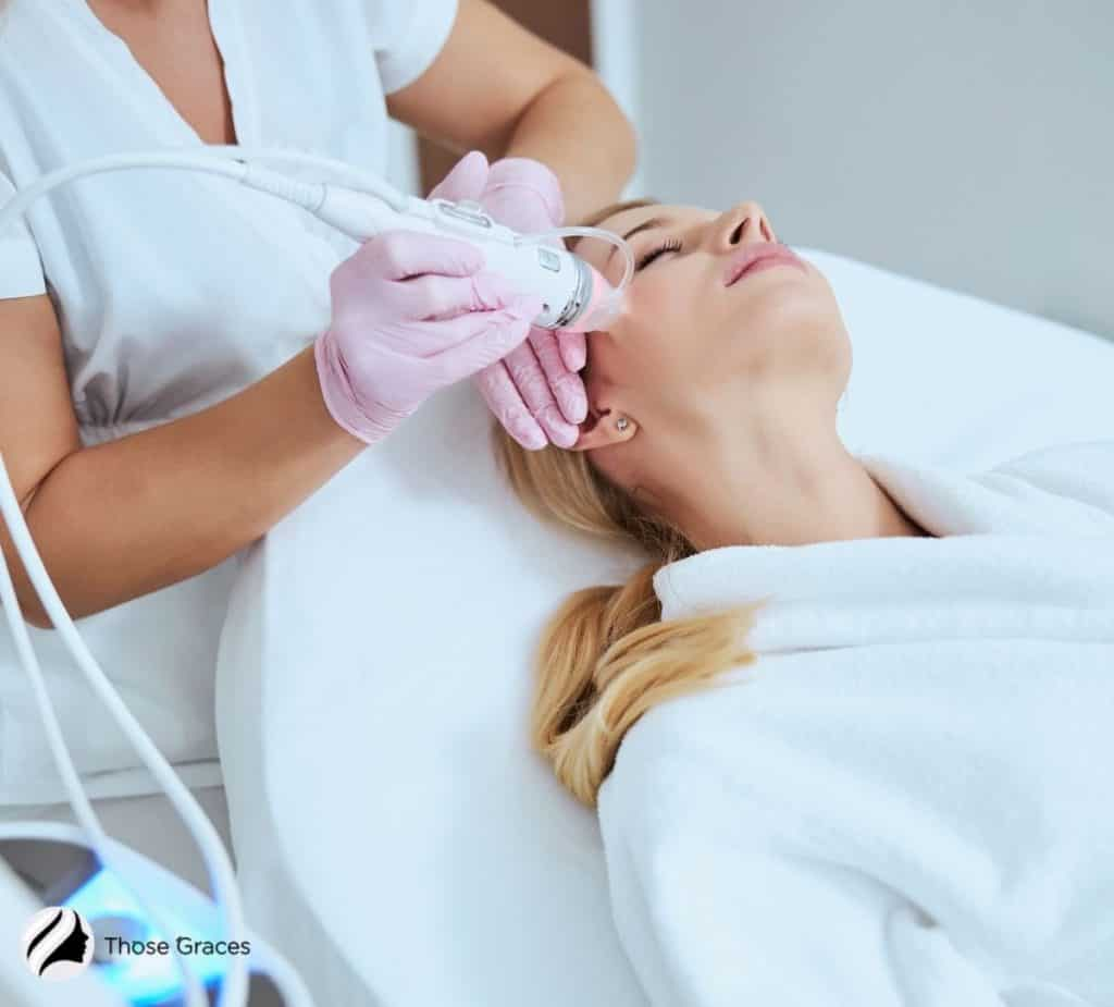 woman having an RF session for her face