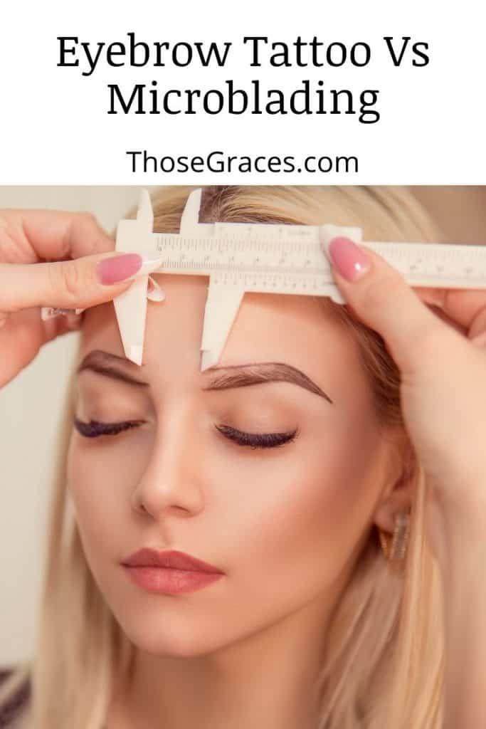 a lady getting an eyebrow tattoo