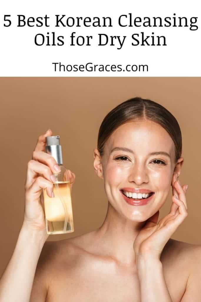 lady showing a bottle of the best Korean cleansing oil for dry skin