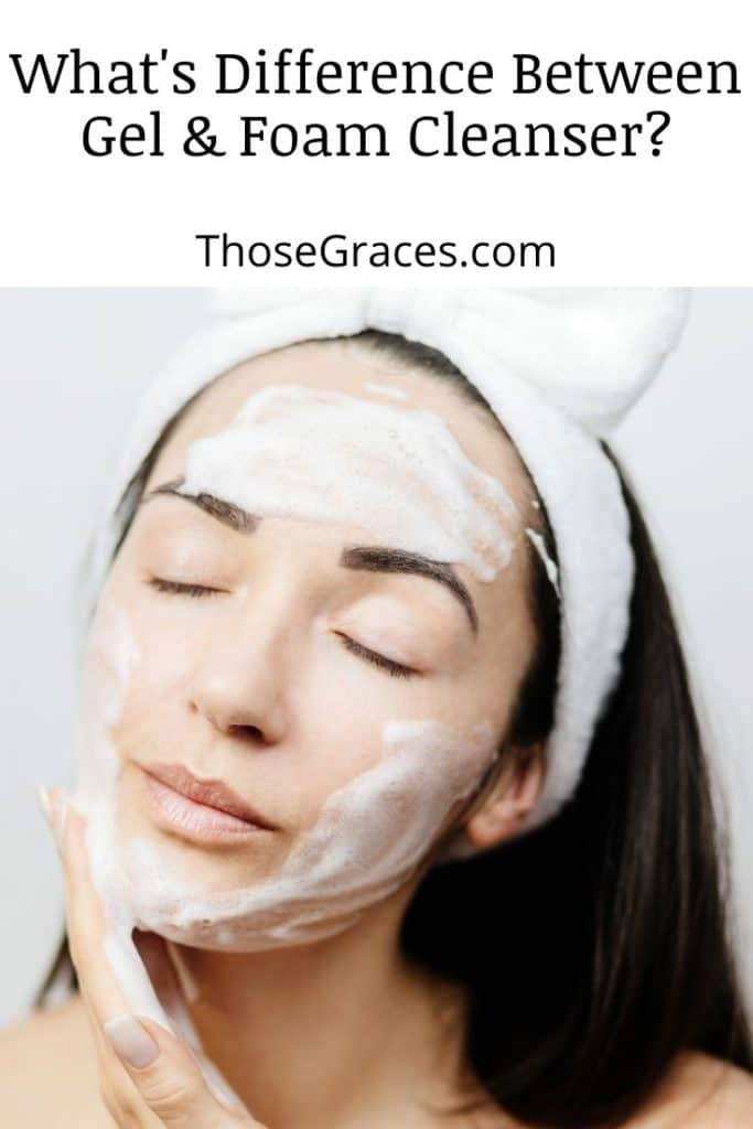 lady cleaning face using foam cleanser