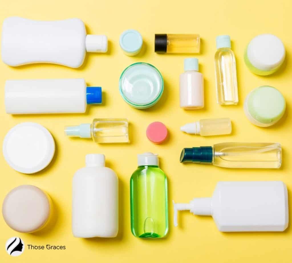 different types of cleansers on top of a table