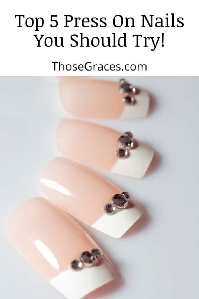 pretty white with stone press on nails