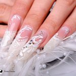 long silk wrap nails with butterfly design